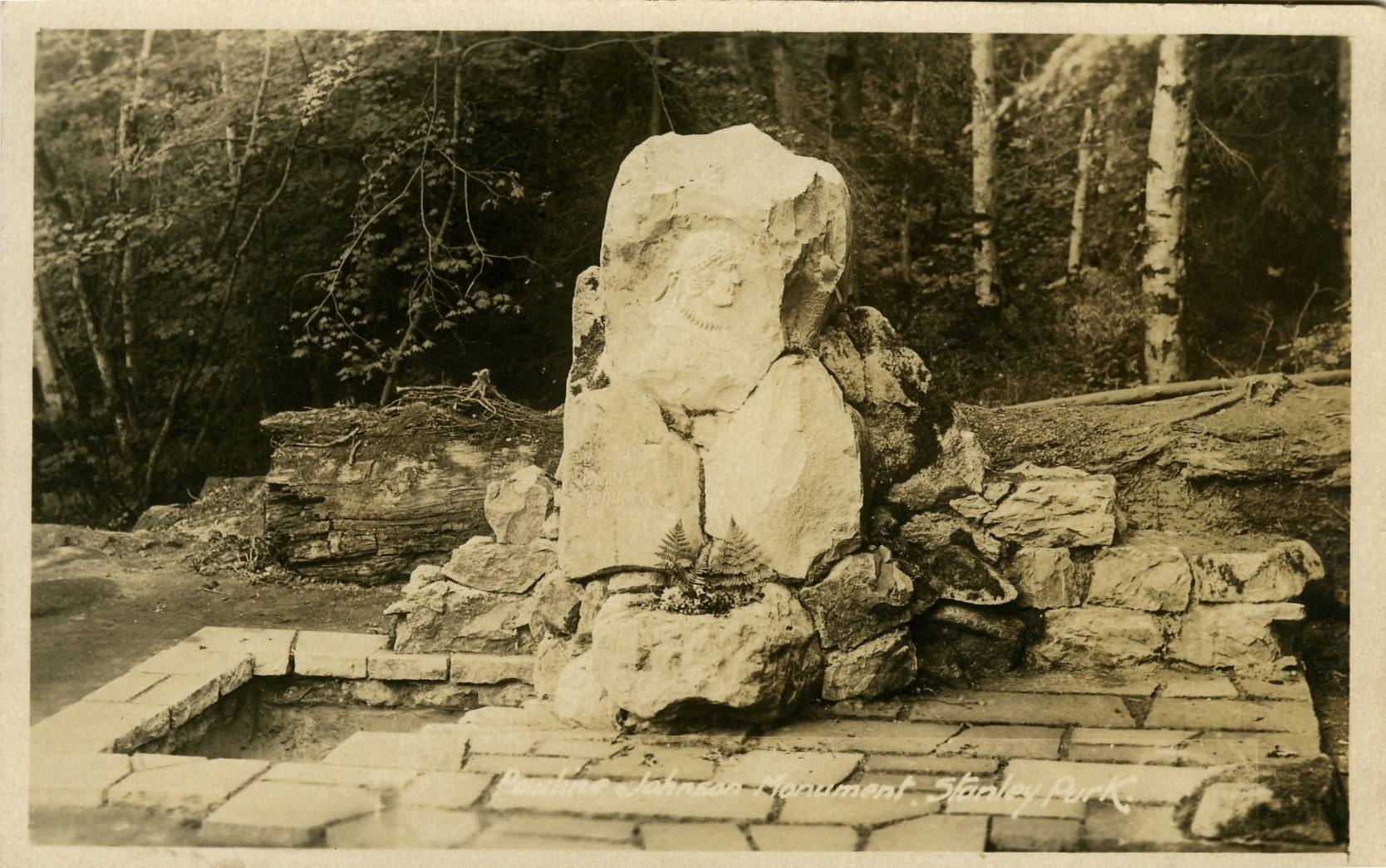Pauline Johnson Memorial, Stanley Park, Vancouver BC - postcard