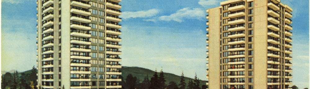 Vantage Point apartment towers, Burnaby, BC. Advertising postcard.
