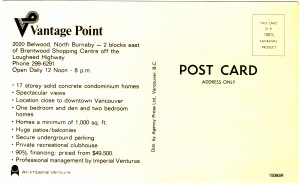 Vantage Point apartment towers, Burnaby, BC. Advertising postcard back.