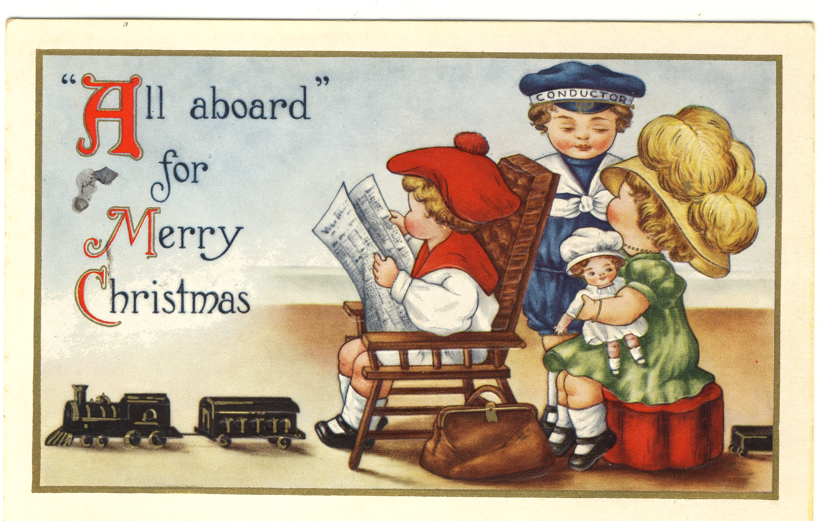 All aboard for Merry Christmas -postcard